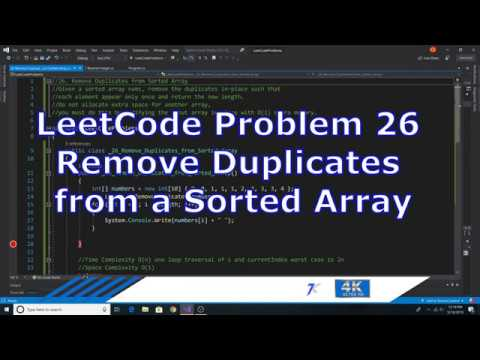 LeetCode problem 26 Remove Duplicates from Sorted Array solution  implemented in C#