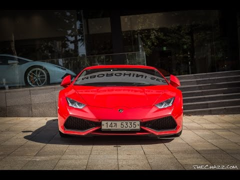 Lamborghini Huracan Startup and loud acceleration - Seoul South Korea