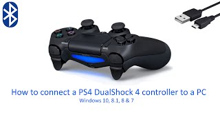 Connect a PS4 controller to a PC or Laptop (USB  & Bluetooth) / Windows 10, 8, 7 & Vista