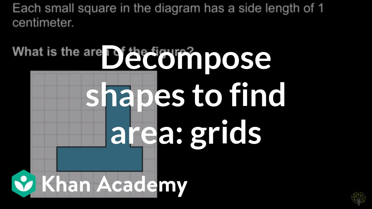 Decomposing shapes to find area: grids (video)   Khan Academy [ 720 x 1280 Pixel ]