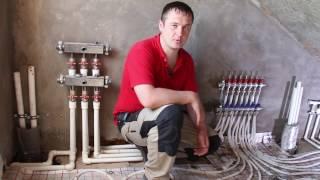 Отопление в коттедже. Теплый пол и радиаторы.  Как залить стяжку на теплый пол. Уфа