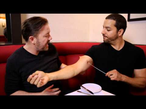 Ricky Gervais Sees Pierced Arm: Real or Magic | David Blaine