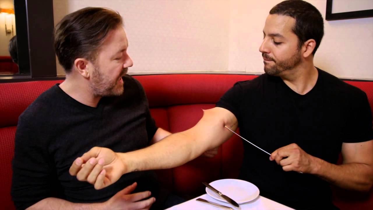 Ricky Gervais Sees Pierced Arm: Real or Magic | David Blaine - YouTube