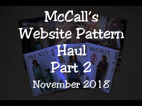 McCall's Website Sewing Pattern Haul Part 2- November 2018- McCall's & Cosplay By McCall's Patterns