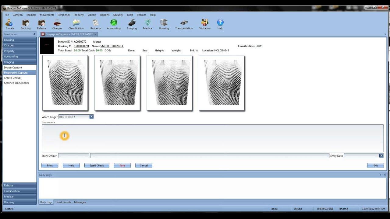 JMS Inmate Fingerprint Capture