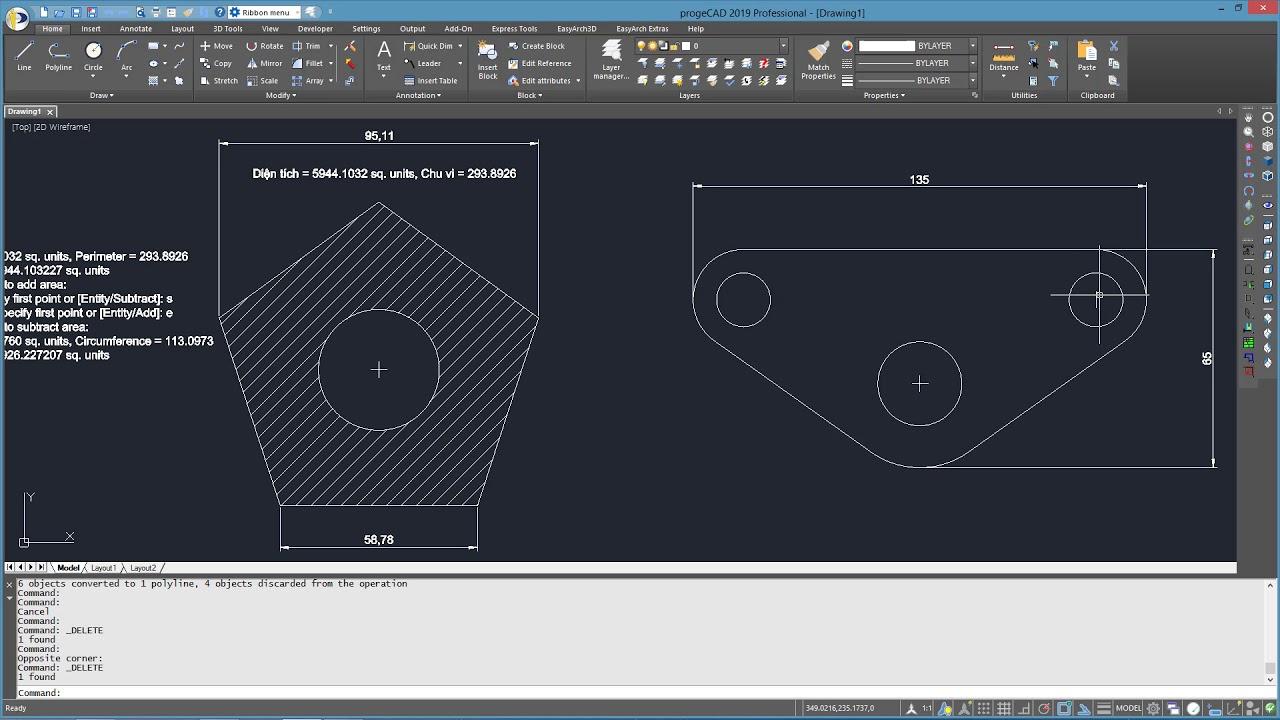 Hướng dẫn đo diện tích và chu vi trên bản vẽ CAD | progeCAD / AutoCAD