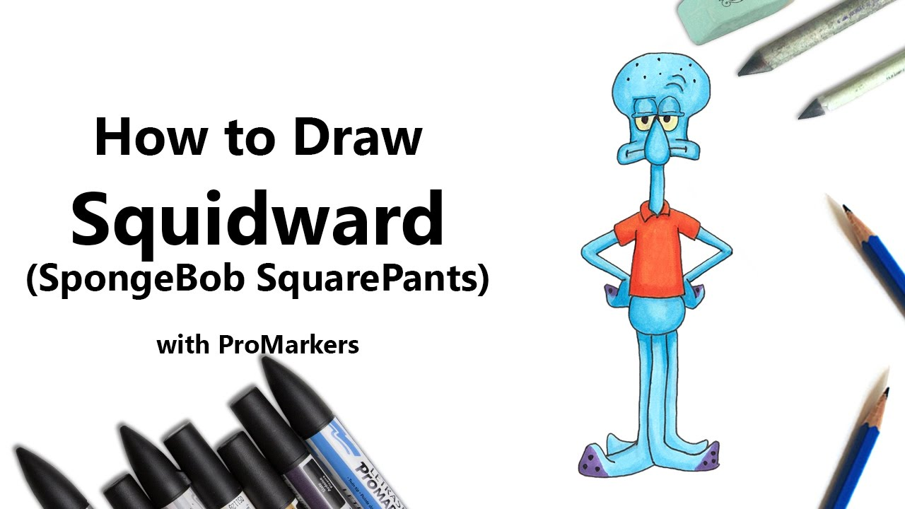 how to draw and color squidward from spongebob squarepants with