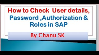 How to Check  User details, Password ,Authorization & Roles in SAP??