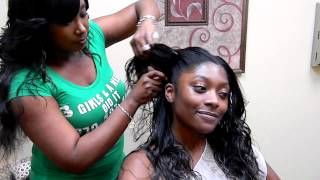 "3 Girls and a Needle Braidless Sew-In procedure called ""Jennie Mae"""