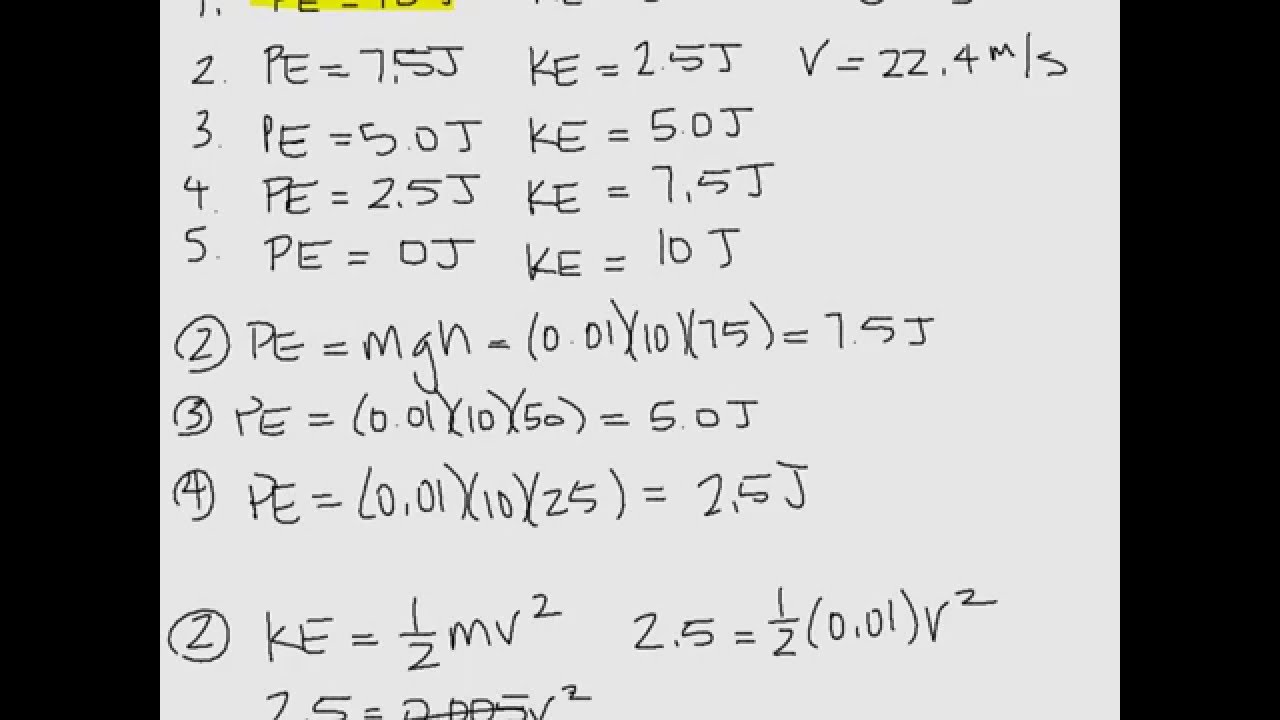 Conservation of Energy Worksheet Sample Problems - YouTube