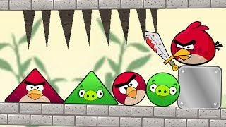 Angry Birds Piggies Out - DROPPING SPIKES TRAP TO RESCUE ROUND AND TRIANGLE BIRDS!