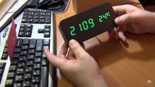 Электронные часы-будильник под дерево (зеленый циферблат)(, 2014-03-03T22:43:54.000Z)