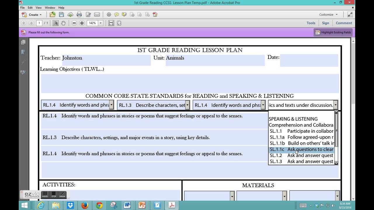 Common Core Reading Lesson Plan Template Youtube