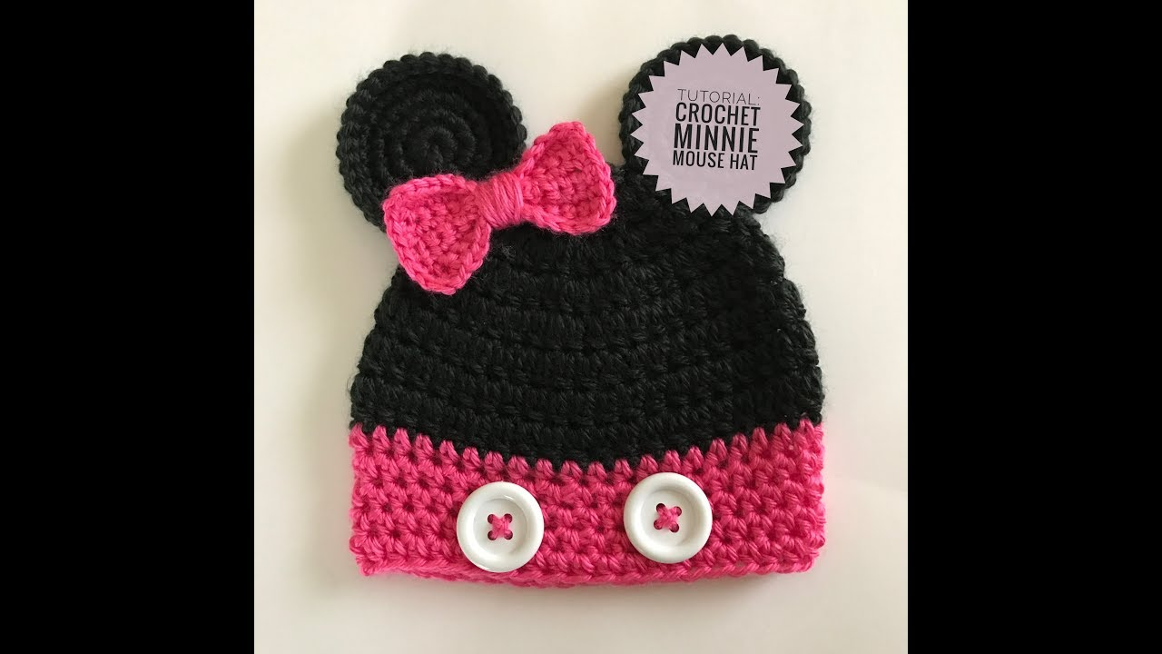 Crochet Minnie Mouse Hat Tutorial - YouTube