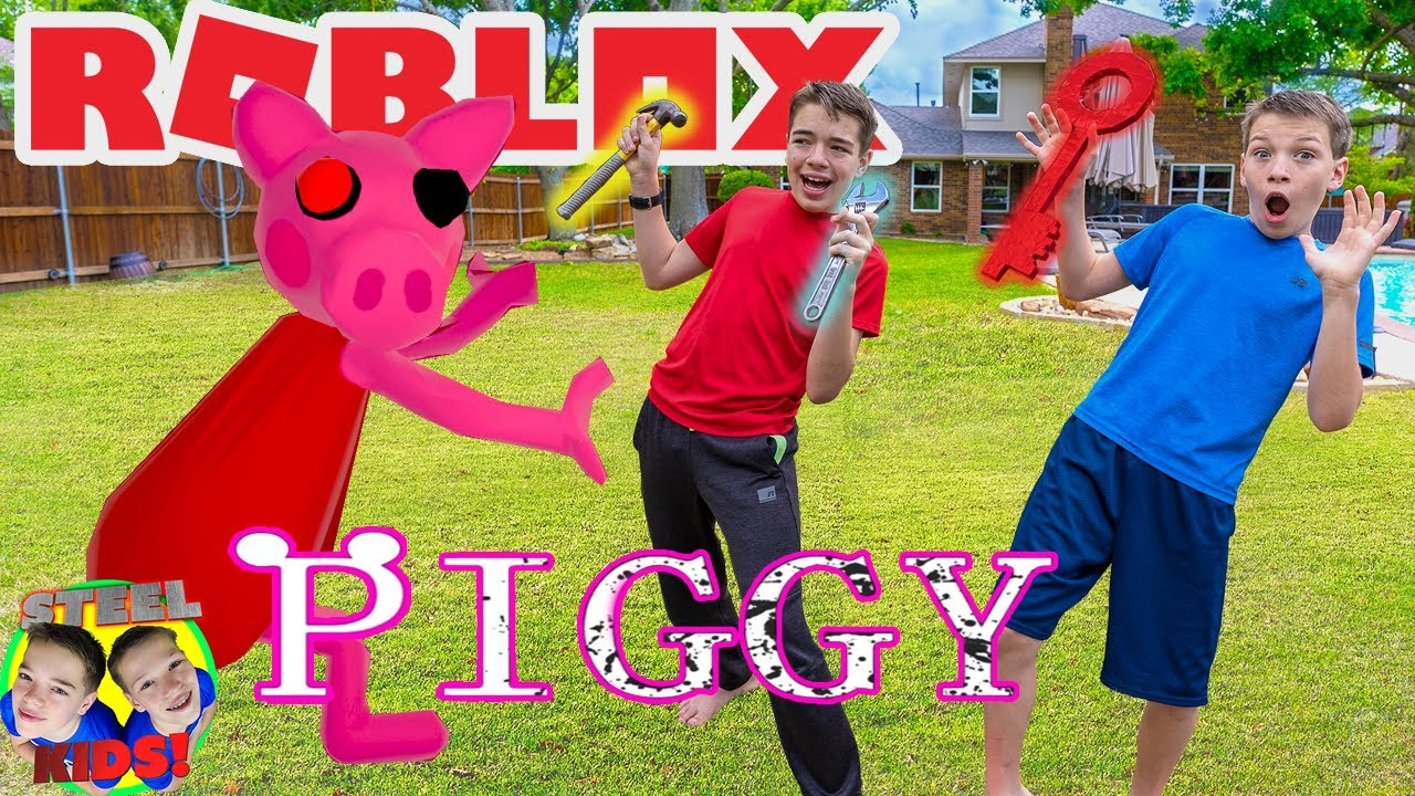 Piggy Trouble! Roblox Piggy Followed Us Out of The Game! Steel Kids