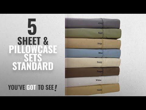 Top 10 Sheet & Pillowcase Sets Standard [2018]: Standard Gold Cotton-Blend Wrinkle-Free Pillowcases