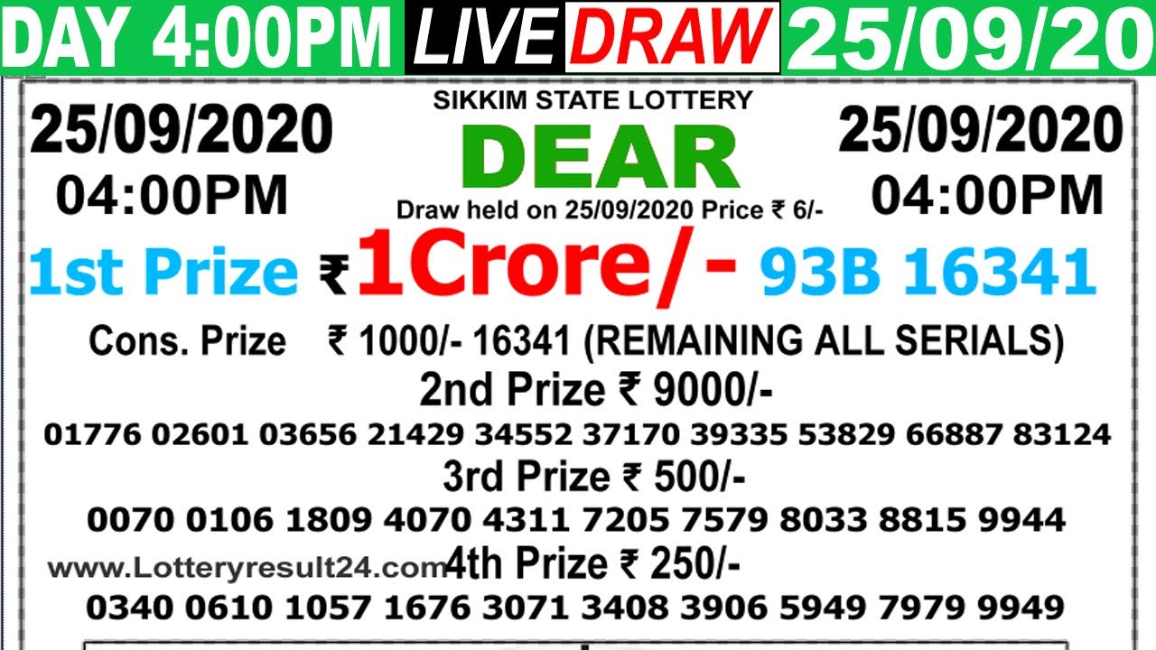 Lottery Sambad Live result 4PM Date25.09.2020 Dear Day SikkimLive Today Result Lottery khela