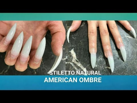 Stiletto Ombre Natural American With Light Pink Acrylic Nails