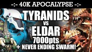 APOCALYPSE Tyranids vs Eldar 40K Battle Report THE GREAT TREE OF ALGORION! 7th Edition 7000pts