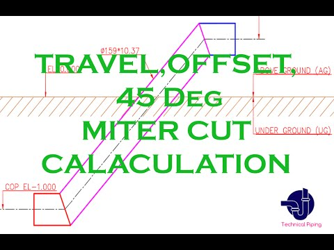 Piping-Travel,Offset,Run,Angle,45 deg Miter Cut Calculation Formula