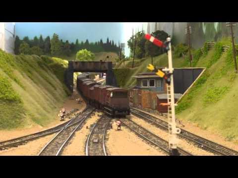 Freight trains on Amberton 00 gauge model railway.