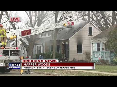 Firefighters at scene of house fire in Harper Woods
