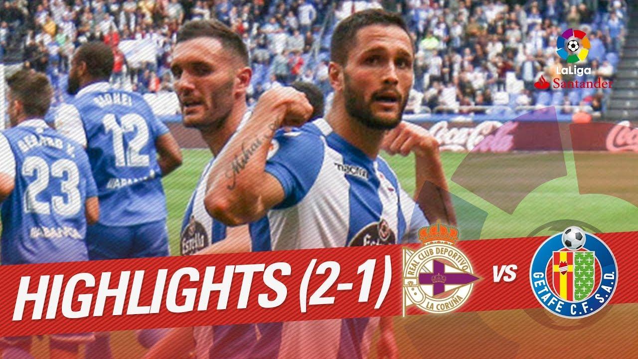 Resumen de RC Deportivo vs Getafe CF (2-1) - YouTube