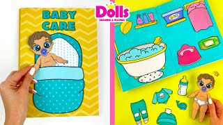 PAPER DOLLS HOUSE BABY CARE QUIET BOOK DIY  STEP BY STEP TUTORIAL