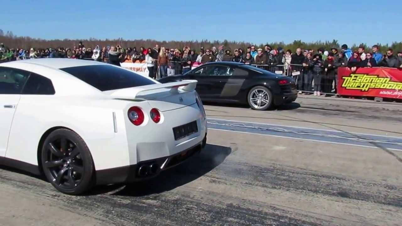 Nissan Gt R Vs Audi R8 V10 1 4 Mile Youtube