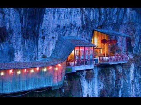 The Hanging Fangweng Restaurant Above Yangtze River Hd 2015 Hd Youtube