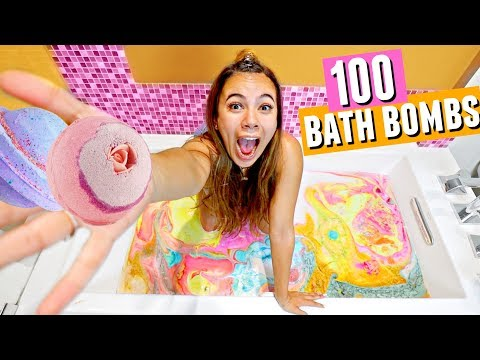 100 BATH BOMBS CHALLENGE!! It was satisfying but then it turned... BROWN!