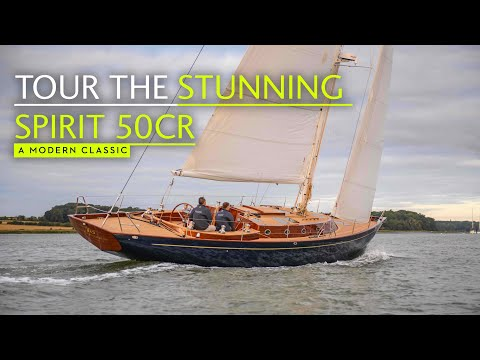 This yacht is a work of art in wood. Tour the Spirit 50CR long distance cruising yacht