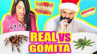 COMIDA de GOMA vs REAL! ARAñA VIVA OH NO! RETO SandraCiresArt - Gummy Food Challenge