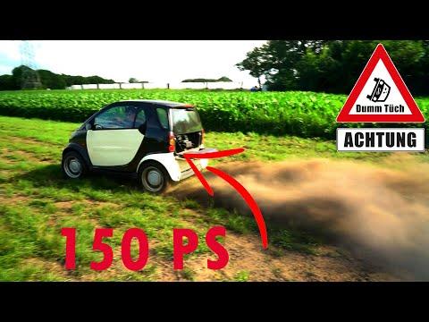 Smart mit Motorradmotor (150 PS)   Dumm Tüch