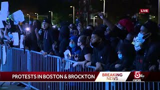 Crowd of protesters outside Boston police headquarters chant George Floyd's name