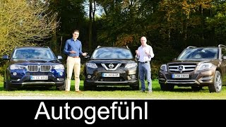BMW X3 vs Mercedes GLK-Class vs Nissan Rogue X-Trail (all-new) COMPARISON test drive REVIEW(This is our big comparison test of the BMW X3 Facelift, the all-new Nissan X-Trail and the Mercedes GLK-Class Also check out the other 2 competitors of the X3 ..., 2014-11-02T17:43:01.000Z)