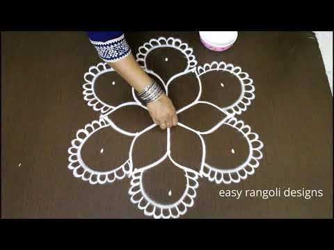 friday kolam designs with 5 dots *latest easy rangoli *simple chukkala muggulu* new daily rangavalli