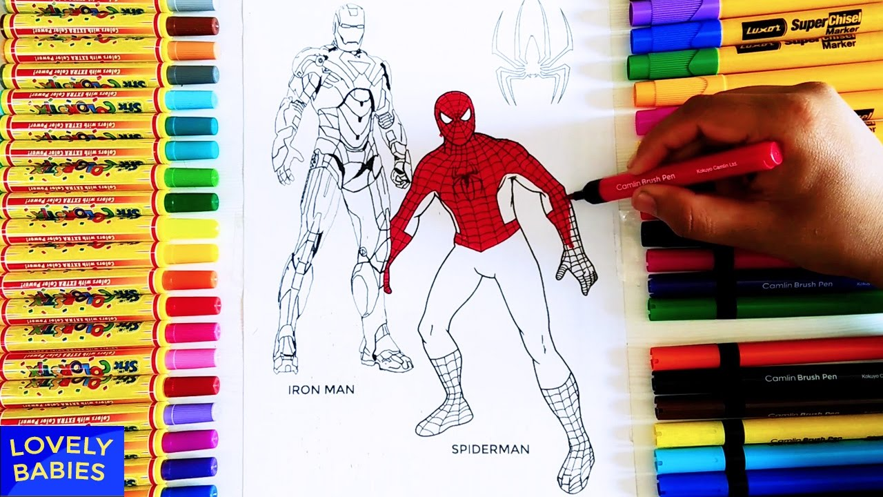 spiderman vs ironman coloring pages learn colors with coloring