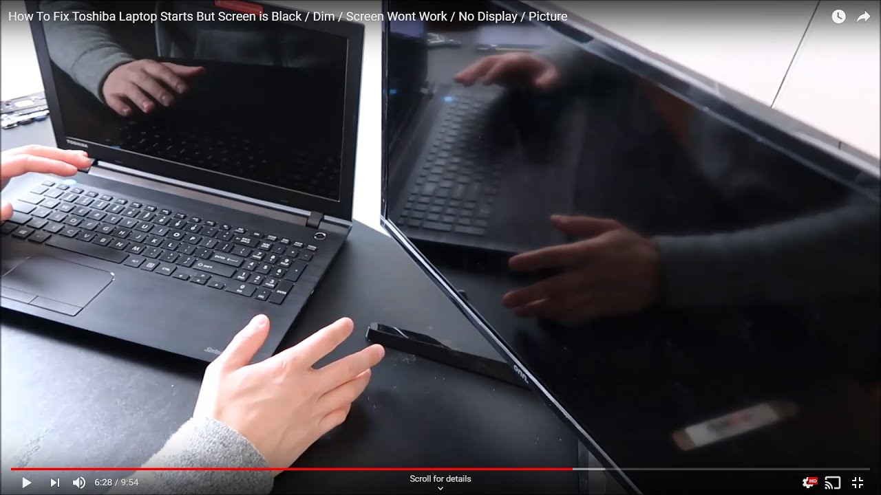 How To Fix Toshiba Laptop Starts But Screen Is Black Dim Screen Wont Work No Display Picture Youtube