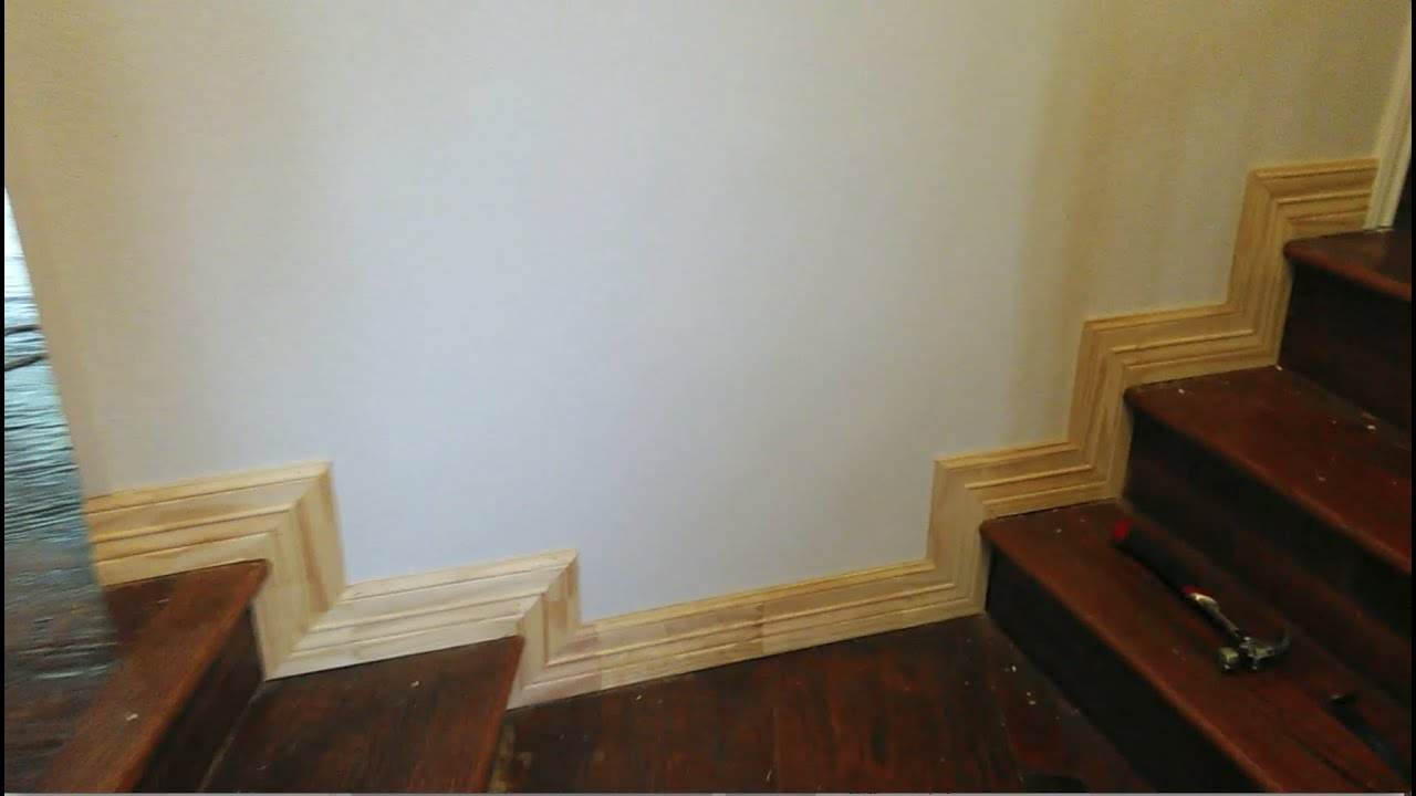 Baseboard Installation On Stairs Youtube