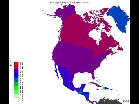 North America - Life Expectancy At Birth, Total - Time Lapse