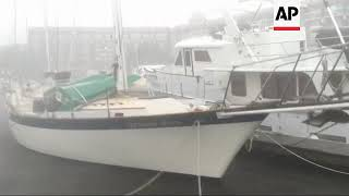 Tropical wind batters boats in New Bern, NC
