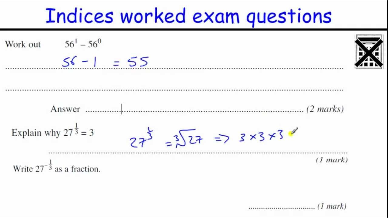Indices GCSE Maths revision Higher level worked exam questions – Fractional Indices Worksheet