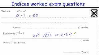 Indices GCSE Maths revision Higher level worked exam questions (inc fractional and negative powers)
