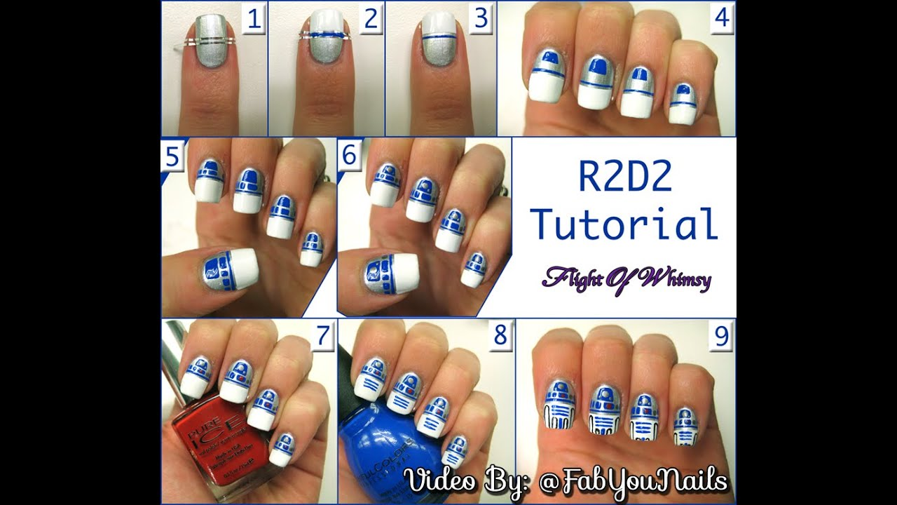 Star Wars R2D2 Nail Art Tutorial - Step By Step How To Nail Art -  FabYouNails - Star Wars R2D2 Nail Art Tutorial - Step By Step How To Nail Art