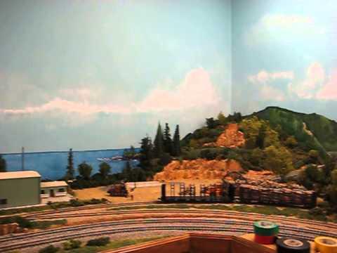 Hand painted backdrop on my ho scale train layout youtube - Model railroad backdrops ...