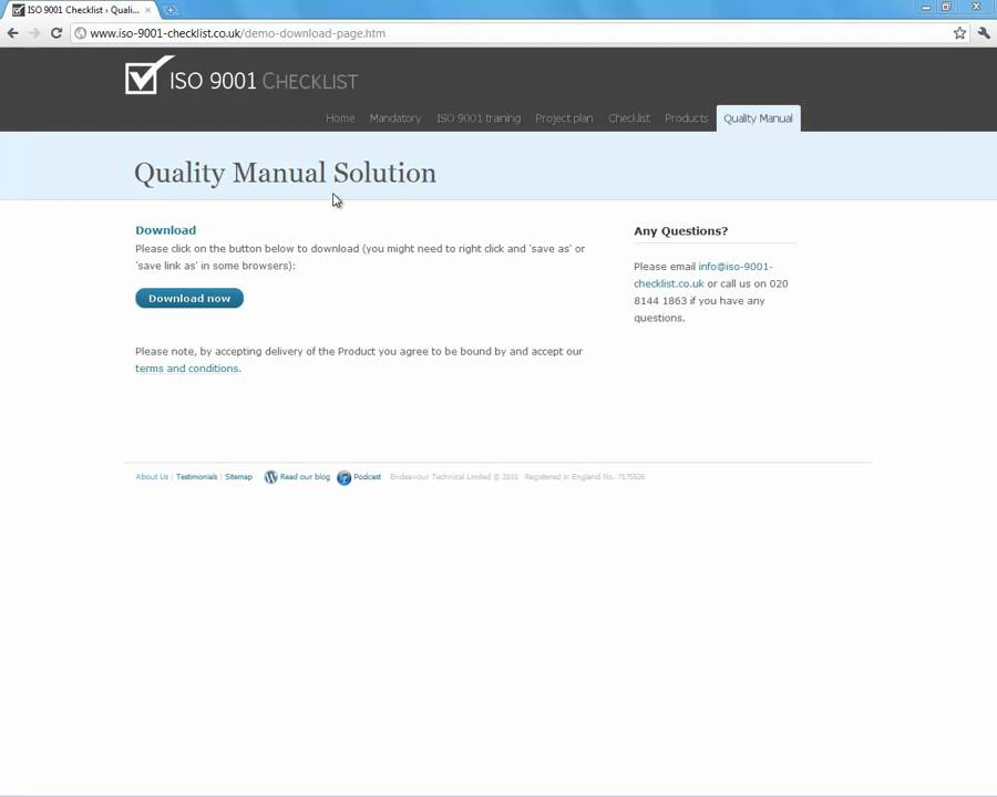 ISO 9001 Quality Manual Template demo - YouTube