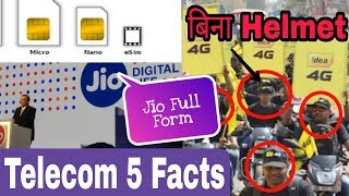 Telecom Top-5 Facts | Jio Full Fom,eSIM Card Facts,Telecom Employs Without Helmet,Silent SMS