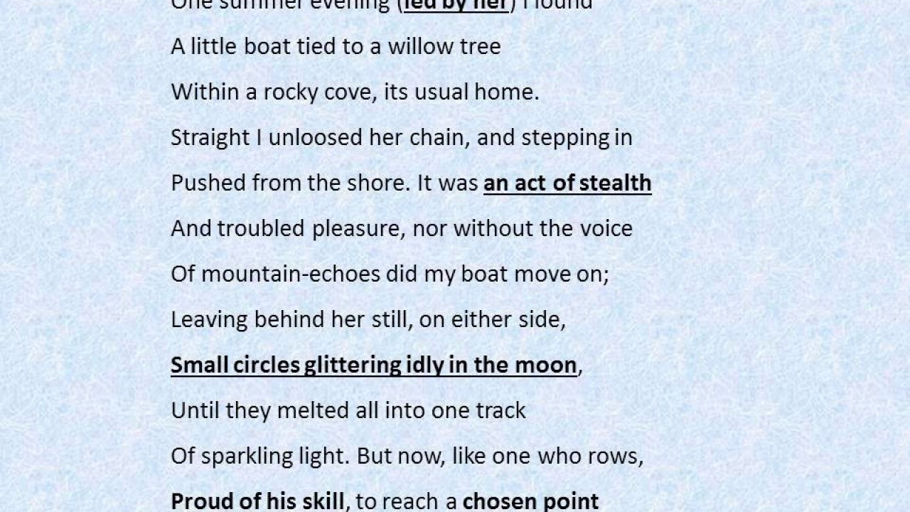 The Prelude By William Wordsworth English Poetry Revision Video