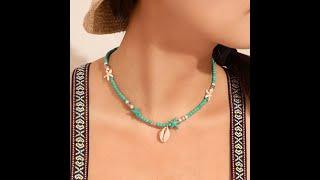 Женская подвеска из ракушек в богемском стиле ожерелье ручной работы с зелеными бусинами ракушек